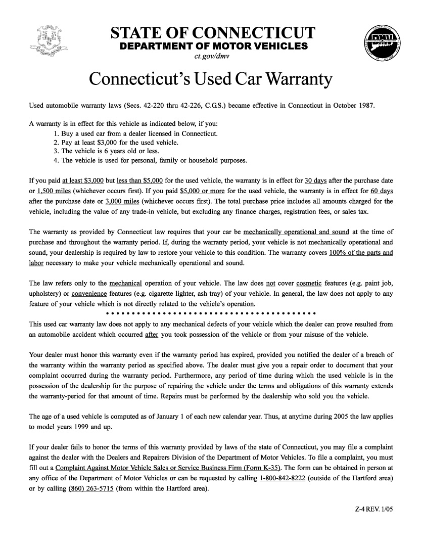 Connecticut's Used Car Warranty